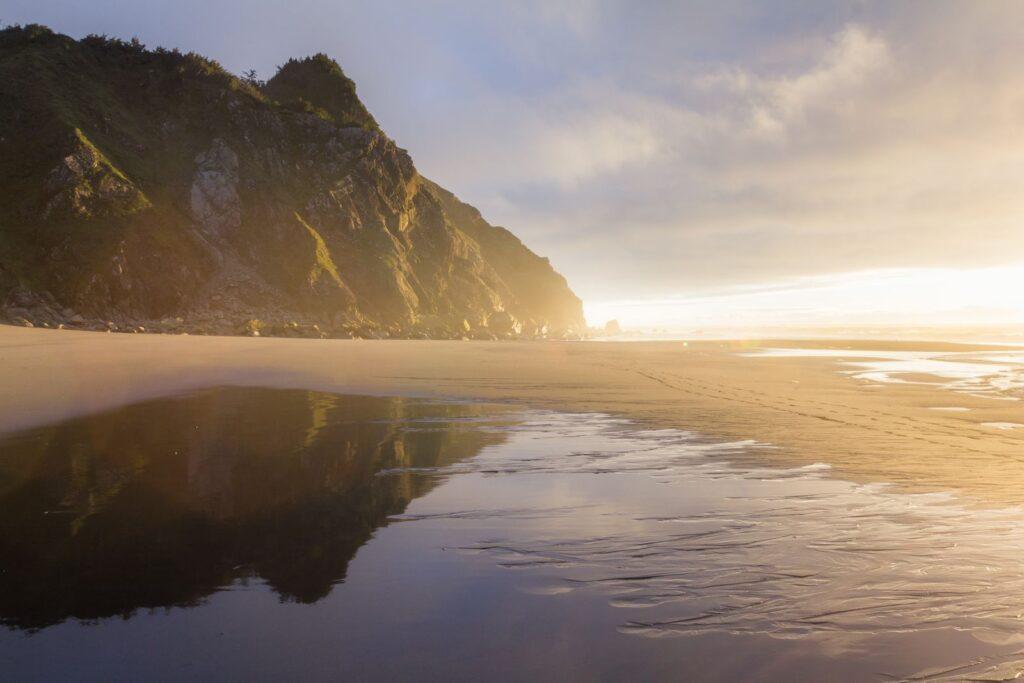 Cape Sebastian beach and headland at sunset on the Oregon Coast