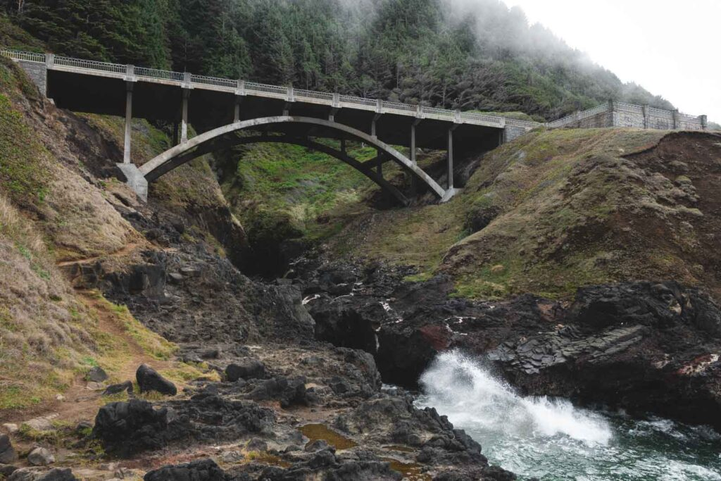 Bridge across rocky Cook's Chasm near Thor's Well on the Oregon Coast