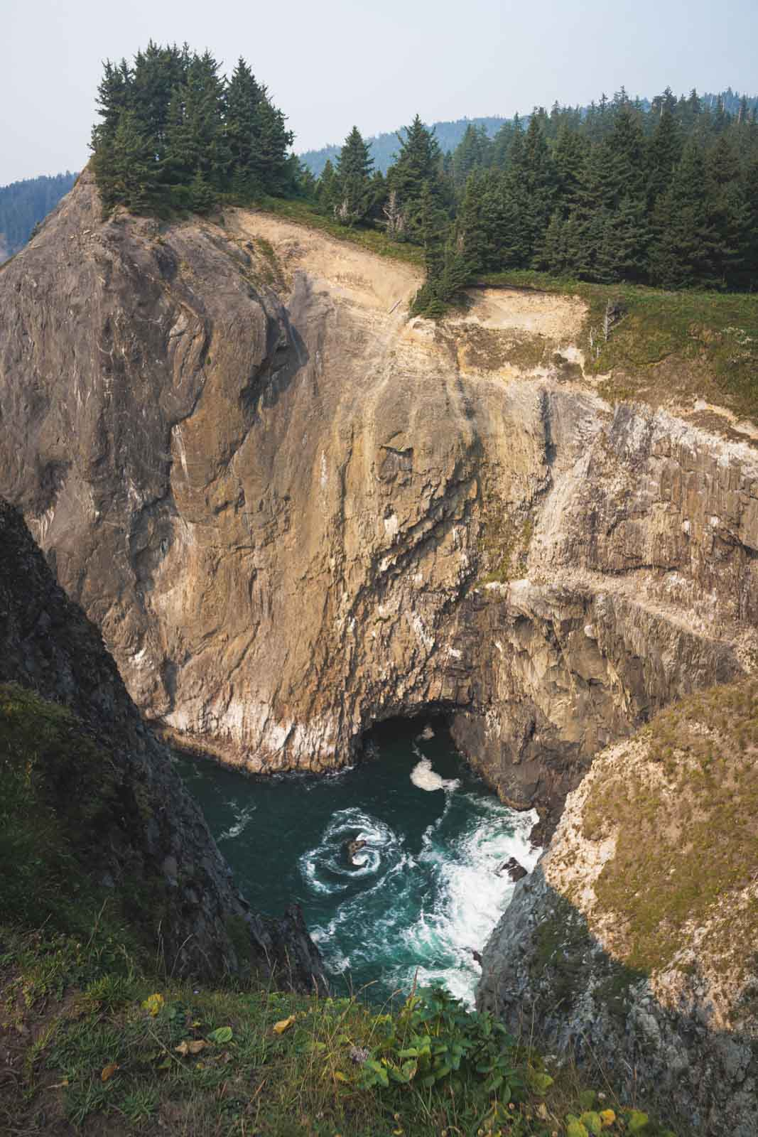 View of Devil's Cauldron on the Oregon Coast from above in Oswald West State Park