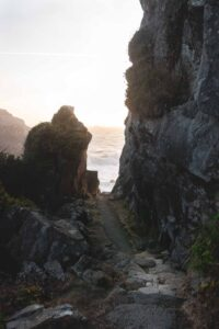 Hiking trail through the rocks at Harris Beach State Park