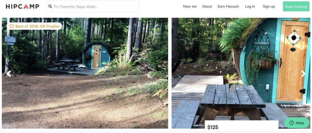 Screenshot of Airbnb for The Hobbit House on the Oregon Coast