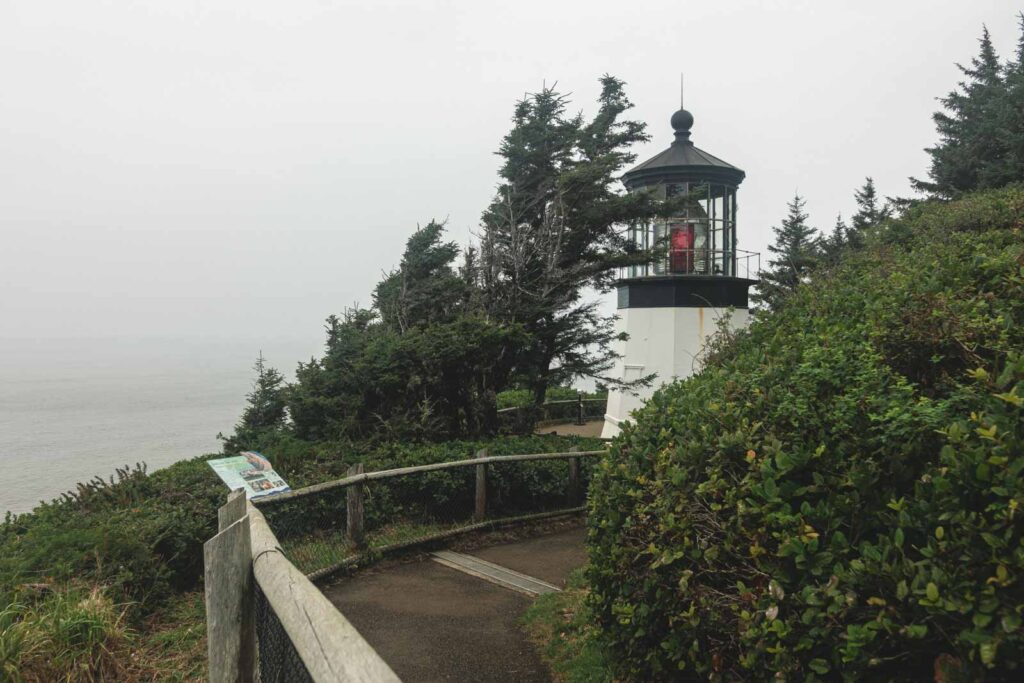 Cape Meares Lighthouse with path leading to it