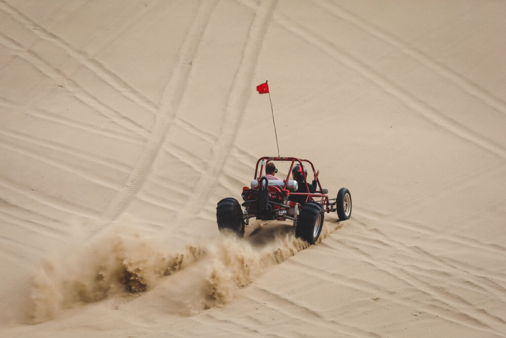 Dune buggy riding sand dunes at Sand Lake Recreation Area near Pacific City