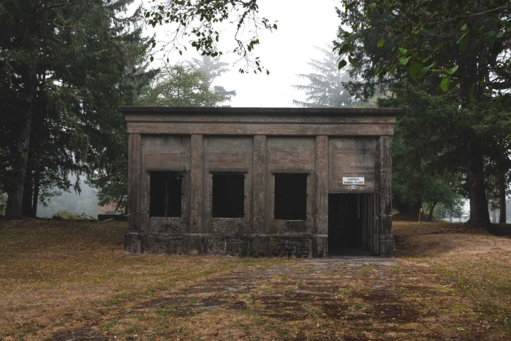 Abandoned power plant in the trees at Fort Stevens State Park