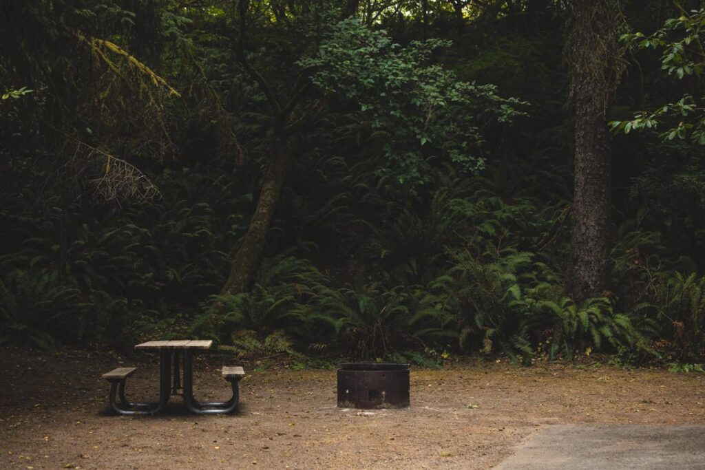 Camping site with fire pit ring and picnic table with trees in the background at Fort Stevens State Park in Oregon