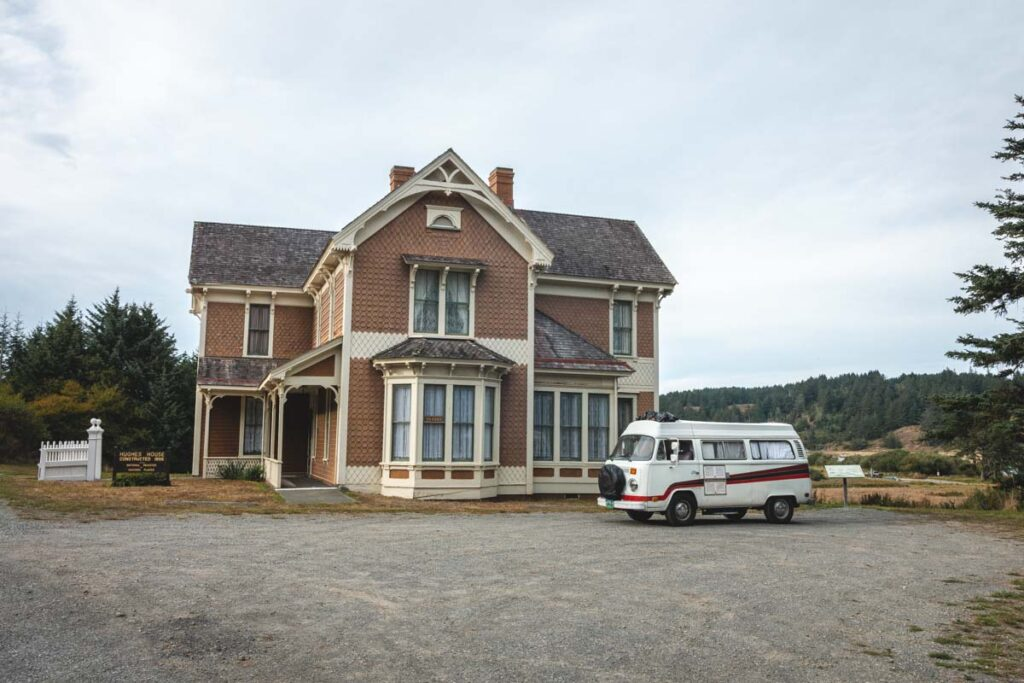 Historic Hughes House with VW van in front of it at Cape Blanco