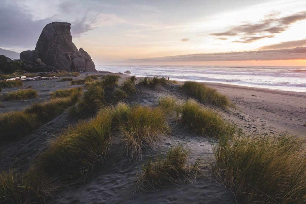 Beach with beach grass and large rock in background at sunset in Brookings, near Gold Beach