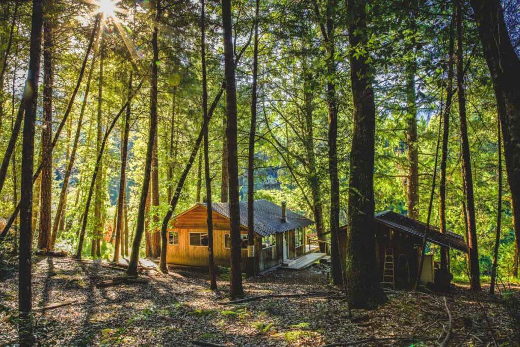 Cabin seen through the trees near the Rogue River trail in Gold Beach