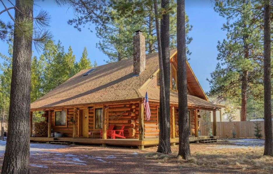 Pet-friendly luxury log cabin in Oregon with trees around it