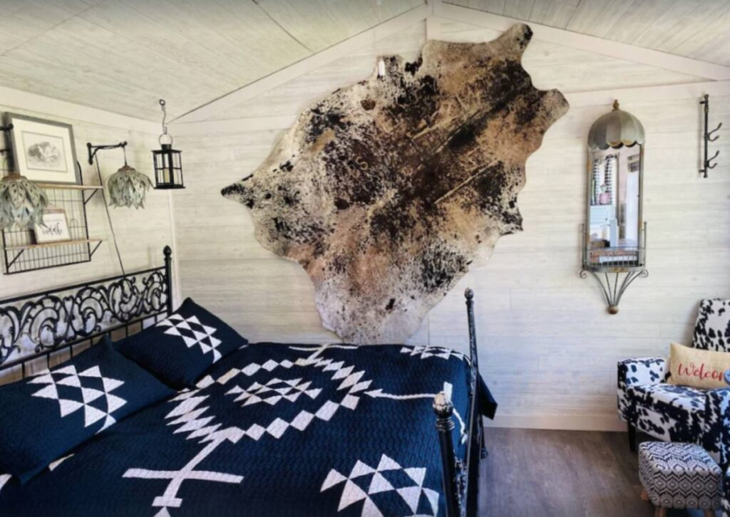 Inside of Cow Camp cabin in Oregon with king size bed with blue and white coverlet, animal skin hanging on wall