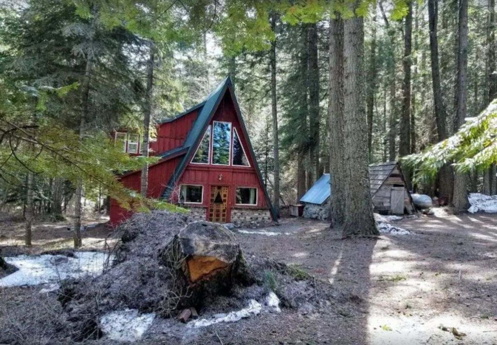 Red A-Frame cabin in Oregon surrounded by trees with large tree stump in foreground