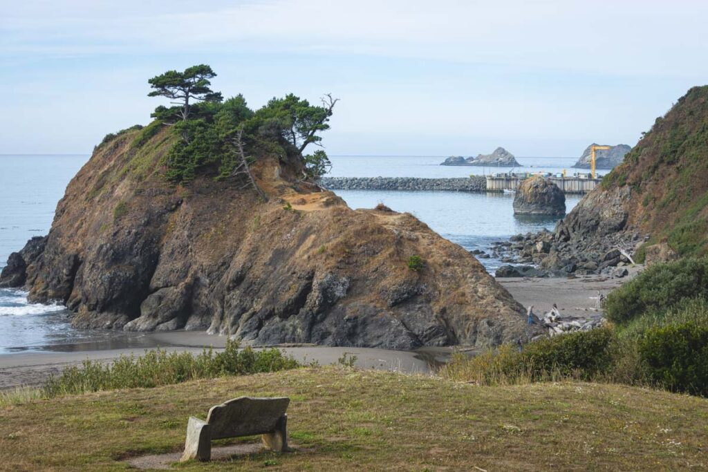 View of Battle Rock in Port Orford, Oregon