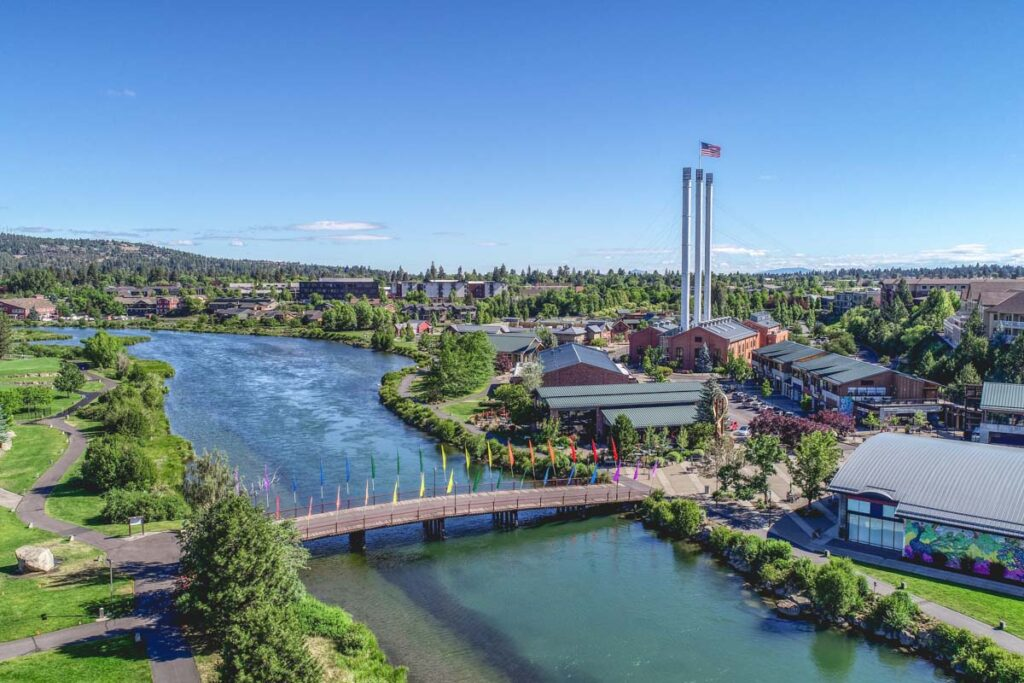 Overhead view of Deschutes River and Old Mill in Bend, Oregon