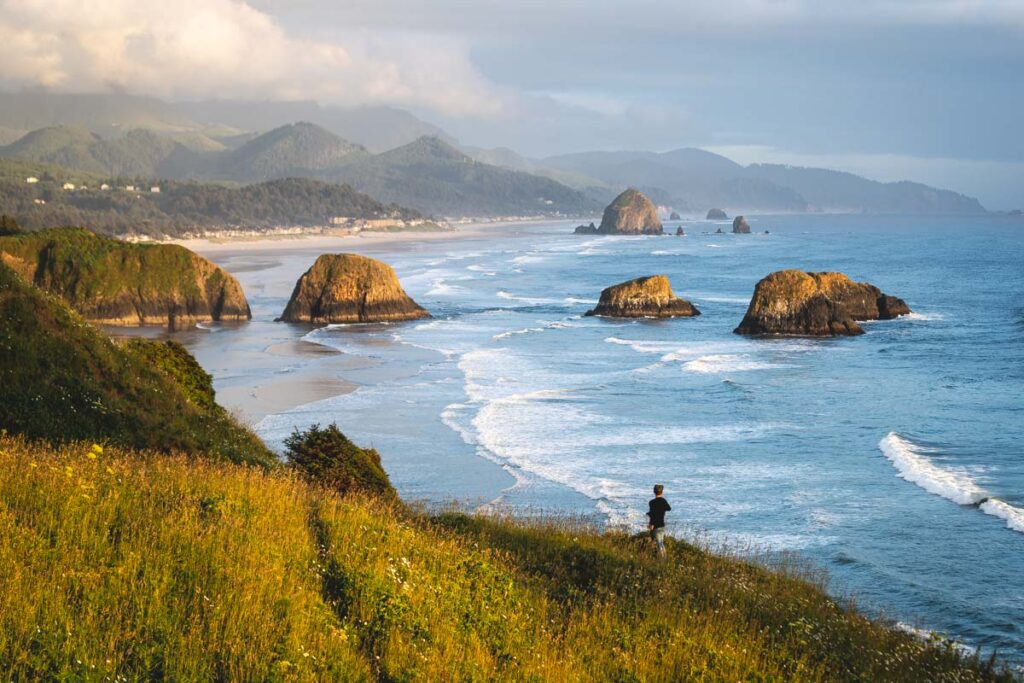 Views of Crescent Beach from the cliffs in Ecola State Park