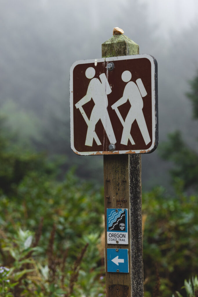 Trail markers for the Ecola State Park to Indian Beach Trail