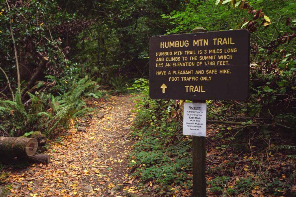 Signpost at the Humbug Mountain Loop trailhead