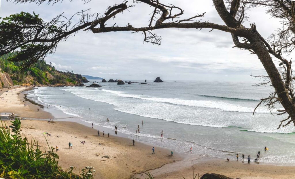 Scene of Indian Beach at Ecola State Park in Oregon state